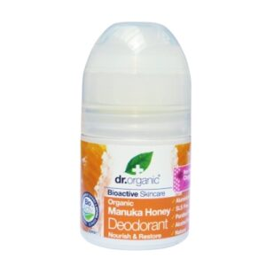 DR_ORGANIC_MANUKA_HONEY_DEODORANT_Un deodorante fluido antibatterico in roll-on, adatto per l'uso quotidiano su pelli sensibili.